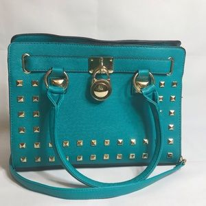Handbags - Teal Vegan Leather Purse Metal Studs And Chain